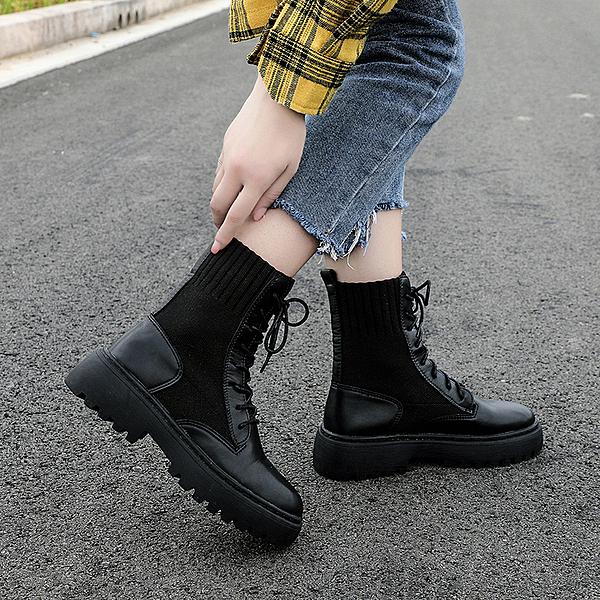粗跟系帶馬丁靴女2020秋季新款韓版複古飛織時尚短靴英倫風機車靴