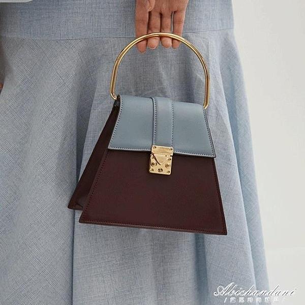 氣質手提小眾設計新款大圓環梯形撞色馬鞍側背斜背包包女 黛尼時尚精品
