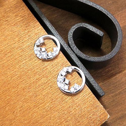 月上繁花環 純銀耳環 (白K金色款)