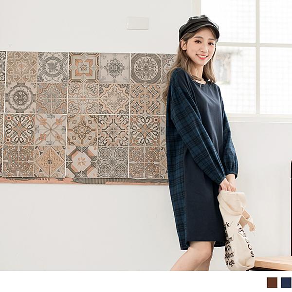 《DA6215-》高含棉拼接格紋長袖洋裝 OB嚴選