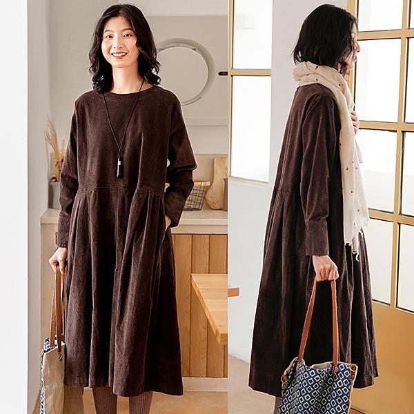洋裝-磨毛拉絨長袖燈芯絨長裙/設計家 Q9916