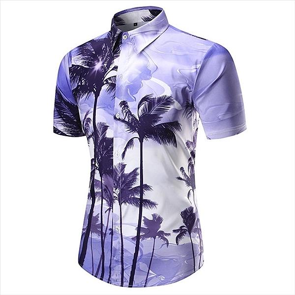 找到自己 MD 韓國 休閒 時尚 男 寬鬆大碼 翻領鈕扣 紫色 椰樹印花 短袖襯衫 上衣 碎花襯衫