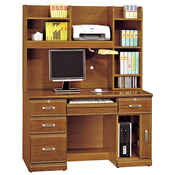 【森可家居】樟木實木4.2尺電腦書桌組 8SB285-3 學生 學習
