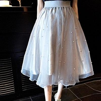 雪紡裙-新款韓版釘珠鬆緊高腰百搭純色蓬蓬紗裙3色69l41【巴黎精品】