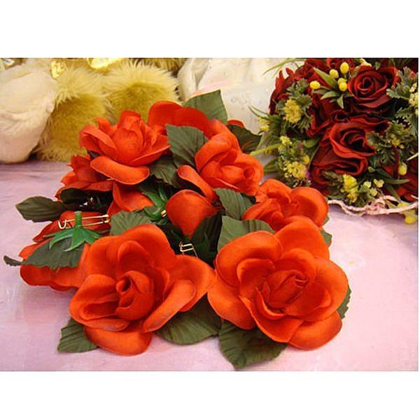 綢小花胸花(紅) 胸花 禮儀名條 婚禮小物 婚俗用品 紅包袋【皇家結婚百貨】