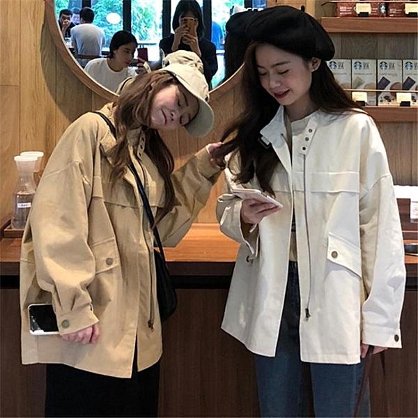 新款春裝韓版寬鬆開衫短款風衣港風工裝休閒夾克外套女學生潮