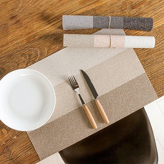 ◄ 生活家精品 ►【N428】日式風三色拼接餐墊 家用 塑料 防水 隔熱墊 西餐墊 餐桌防滑墊