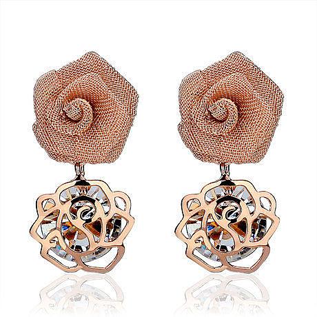 飾品 時尚玫瑰花水晶可愛甜美氣質耳環 女 耳飾