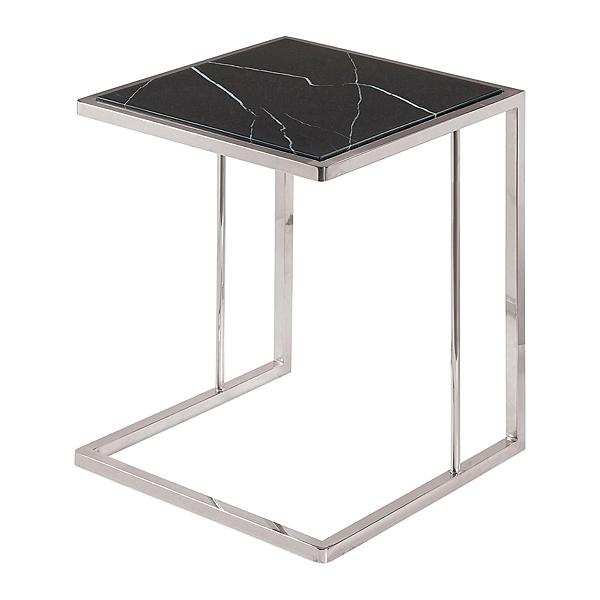 【森可家居】柯林不鏽鋼黑白根石小茶几 8ZX686-4 邊几 花盆裝飾置物架