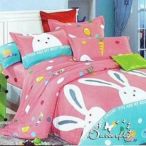 GALATEA 快樂兔子 柔絲絨雙人床包兩用被四件組