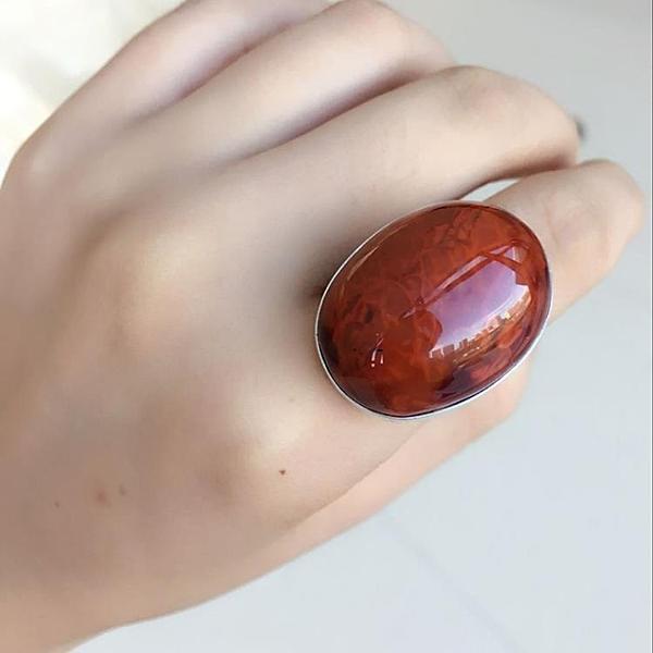 天然四川滿肉南紅瑪瑙火焰紅戒指s990素銀民族風女款