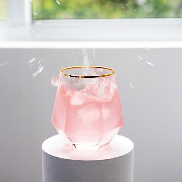 水杯玻璃杯家用創意透明幾何金邊茶杯子酒杯【聚寶屋】