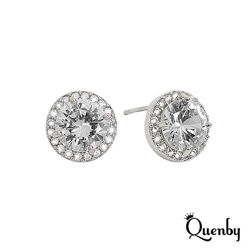 Quenby 925純銀 手工鑲嵌獨特動人簡約銀鑽耳環/耳針