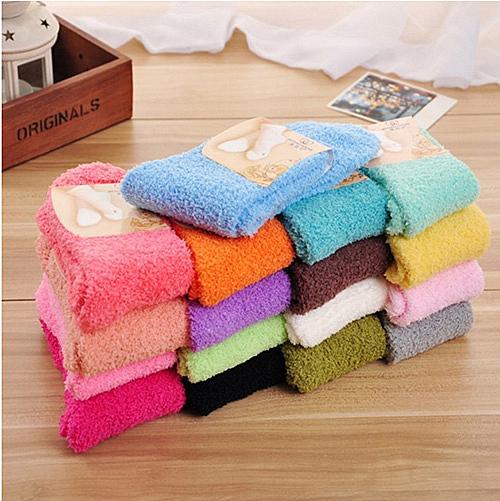 聖誕禮物 毛巾襪 秋冬加厚純色珊瑚絨毛襪 保暖地板襪子 聖誕節【B7122】