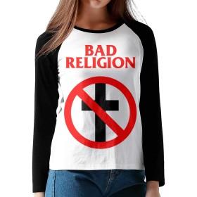 BAD RELIGION バッド・レリジョン M 長袖 Tシャツ レディース トップス 無地 カットソー Tシャツ シンプル コットン クルーネック Tシャツ おしゃれ
