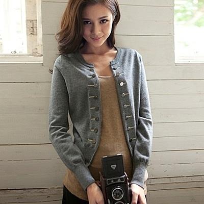 針織外套-羊毛長袖修身短款雙排扣女毛衣外套5色72ak4【巴黎精品】