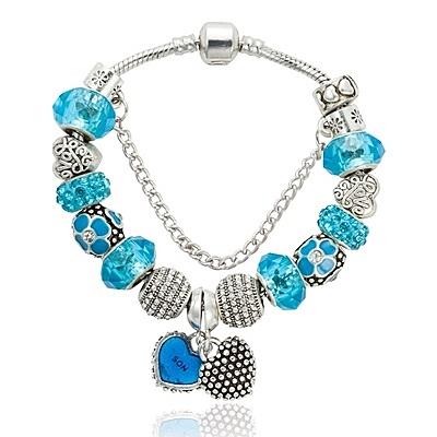 串珠手環-水晶飾品藍色系列時尚魅力女配件73kc373【時尚巴黎】