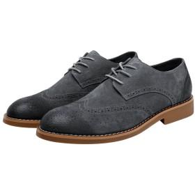 [LWSJP] ビジネスシューズ カジュアル レザー 快適 長持ち メンズ 革靴 軽量 紳士靴 (Color : Suede Gray, サイズ : 23.5 CM)