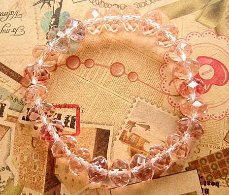 高檔超值價熱賣 超閃亮超透亮粉色水晶手鏈 手鐲