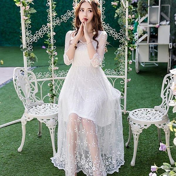 小三衣藏[11266-QF]時尚花邊方領優雅刺繡蕾絲透視感長裙洋裝~春夏洋裝