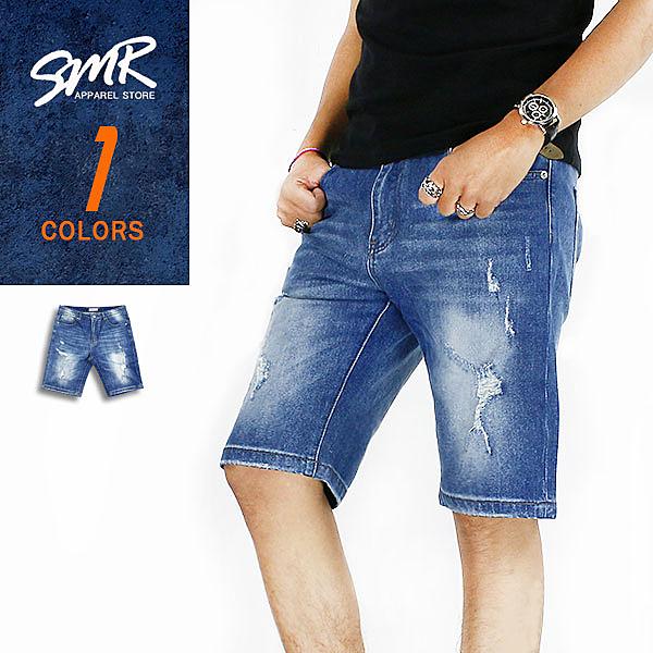 短褲-微破彈力牛仔短褲-百搭刷破款《9999588》藍色【現貨+預購】『RFD』