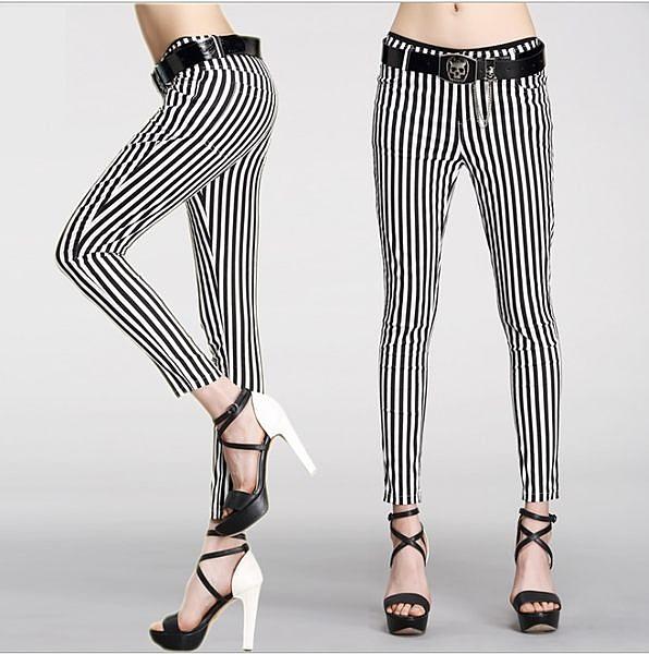 卡樂color…條紋彈力顯瘦休閒褲女九分縮腳褲(版型偏小) S-XL #ymt338286