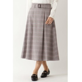 【イッカ/ikka】 ベルト付きチェックフレアスカート