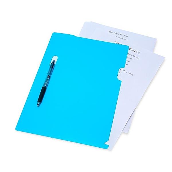 樹德彩色單片夾A4文件保護套加厚L型文件夾二頁資料夾文件袋6個裝