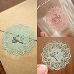 圓形蕾絲風格貼紙 封口貼 創意貼(10入裝)-艾發現