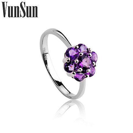 玫瑰系列飾品銀指環鑲嵌紫水晶戒指女款
