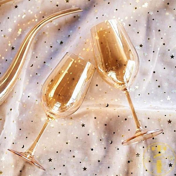 奢華金色高腳杯擺件 琥珀色水晶玻璃紅酒杯高檔酒杯【雲木雜貨】