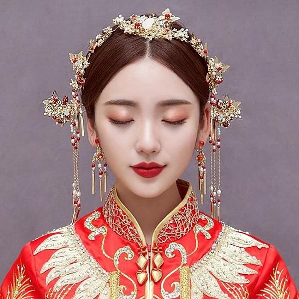 新娘頭飾中式鳳冠簡約大氣古裝套裝