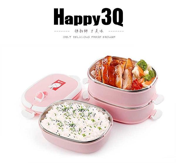 辦公室小學生不銹鋼便當盒方形餐盒三層附提袋送餐具-綠/粉/藍【AAA0440】預購