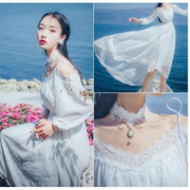白ワンピース マキシワンピ 体型カバー ロングドレス レース ホワイト パーティードレス フォーマル 二次会ドレス 結婚式 お姫