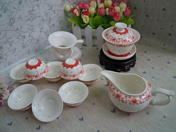 蓮花富貴紅青花藍玲瓏瓷  縷空瓷茶具 創意