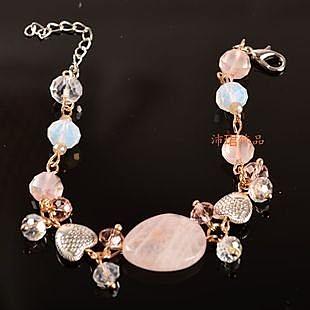 飾品粉晶手工手鏈女式時尚手鐲女生禮物