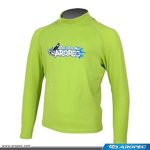 兒童長袖泳衣(防曬衣) -檸檬綠,;水母衣;Kid s Rush Guard, Dive Skin, 蝴蝶魚戶外運動用品館