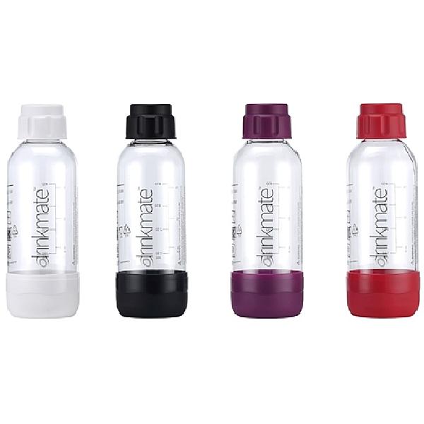 金德恩 氣泡水機專用 攜帶式耐壓水瓶 (0.5L) - 四色可選/消光黑/珍珠白/金屬紅/神秘紫