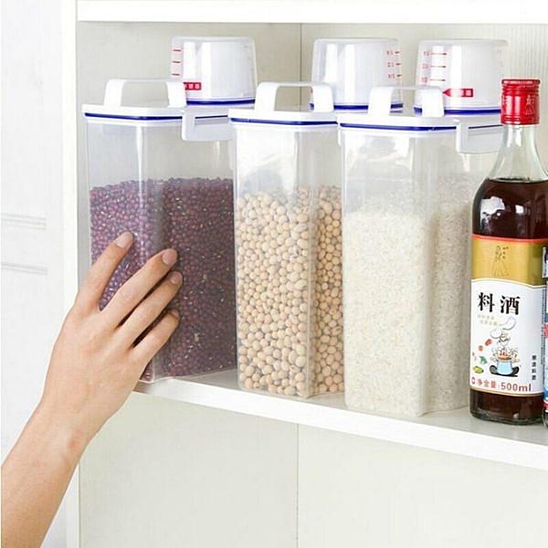 【03350】 手提儲米桶 兩公升大容量 附量杯 麥片 儲物 收納 燕麥 五穀雜糧