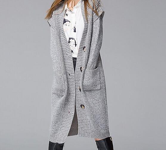 2015秋冬新款大碼加長兔毛毛衣 針織開衫外套(兩色可選)