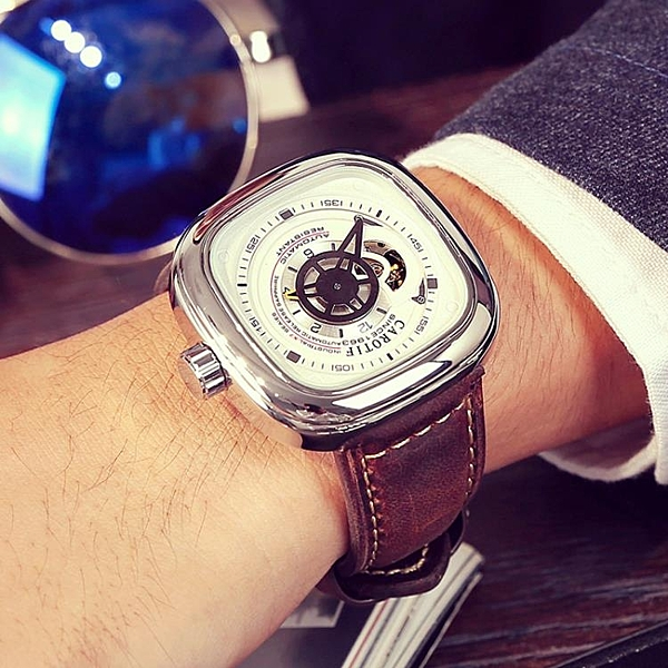 卡羅蒂夫正品陀飛輪手錶潮流男錶全自動機械錶鏤空方形大錶盤腕錶 【八折搶購】