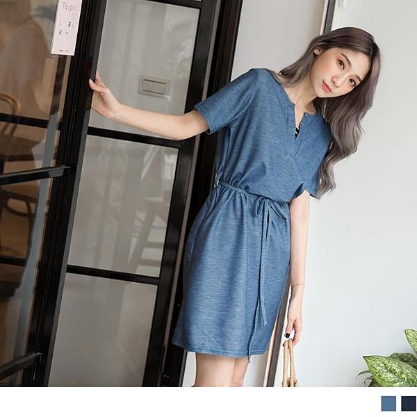 《DA6691-》台灣製造.涼感仿牛仔條紋假兩件綁帶洋裝 OB嚴選