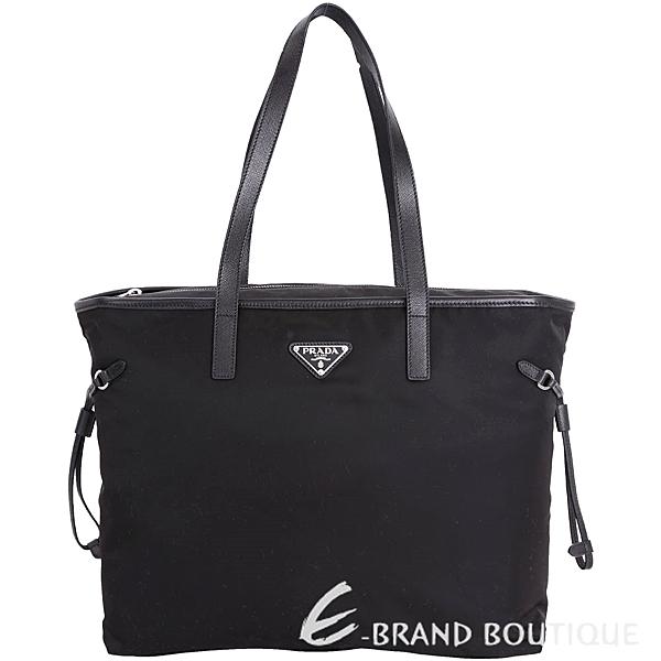 PRADA Vela 三角牌抽繩設計拉鍊尼龍托特包(黑色) 1710830-01