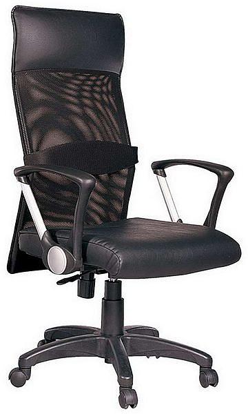 HP348-14 辦公椅/黑皮+黑網布/氣壓+後仰