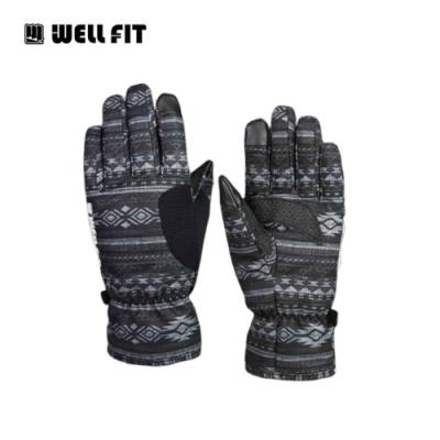 Well Fit Kevlar防水通勤手套【黑底圖騰】(登山、旅遊、保暖、機車)
