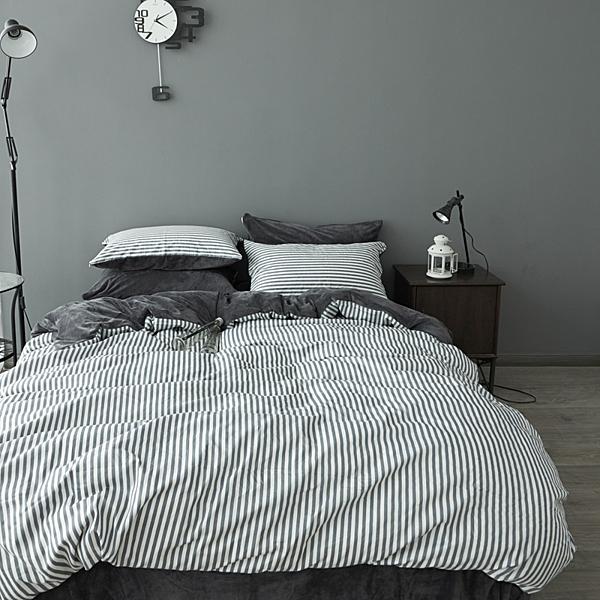 法蘭絨 雙人床包 自由深灰 刷毛 5尺 雙人床包組 床包 被套 枕套 兩用被毯 ikea 床單 精梳棉 佛你