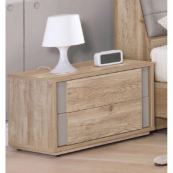 【森可家居】波隆納床頭櫃 9HY57-05 床邊櫃 仿舊原木色 MIT台灣製造