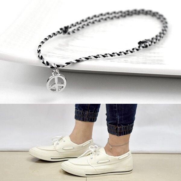 男生腳鍊 素款PEACE混色編織繩【NAS10】