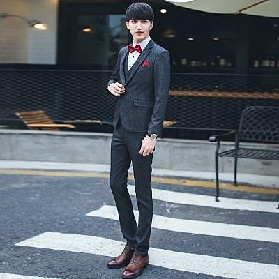 西裝套裝含西裝外套+西裝褲(三件套)-簡約時尚合身設計伴郎男西服73hc94[時尚巴黎]