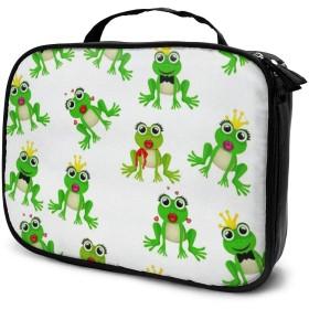 収納袋かわいいカエルの王子様または王女のパターン化粧品袋耐摩耗性軽量ポータブル高品質大容量旅行ポーチバスルームポーチ旅行小物整理約8×25×19cm